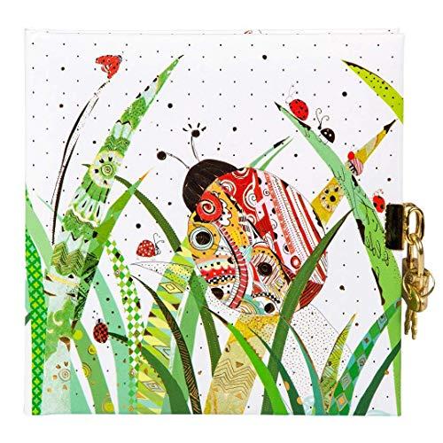 (Goldbuch Tagebuch, In My Backyard Lady Bug, 96 weiße Seiten, 16,5 x 16,5 cm, Schloss mit 2 Schlüsseln, Kunstdruck mit Goldprägung und Relief, Weiß, 44305)