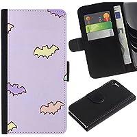 Paccase / Portafoglio del Cuoio di vibrazione del Titolare della carta Custodia per - bat kids wallpaper baby mother purple - Apple Iphone 5 / 5S