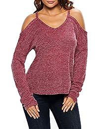Uranus Damen Kalte Schulter Stricken Lange Ärmel Zur Seite fahren Sweatshirt  Oberteile Bluse Tunika a3fb4a9a2f