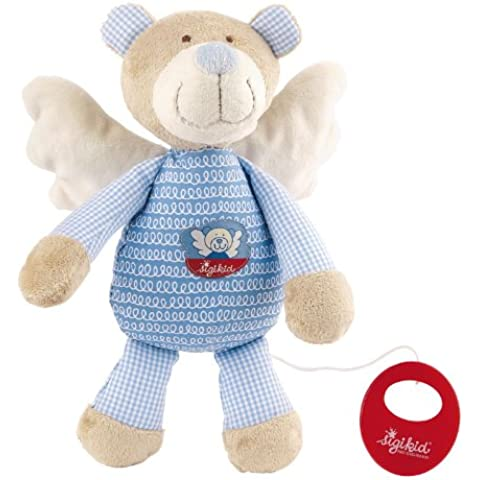 Sigikid 40878 - Peluche musicale a forma di orsetto/angelo custode, colore: Azzurro