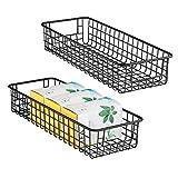 mDesign 2er-Set Allzweckkorb - flexibler Aufbewahrungskorb aus Metalldraht - kompakter, robuster Drahtkorb mit Griffen - universelle Gitterbox für Küche, Speisekammer und andere Räume - mattschwarz