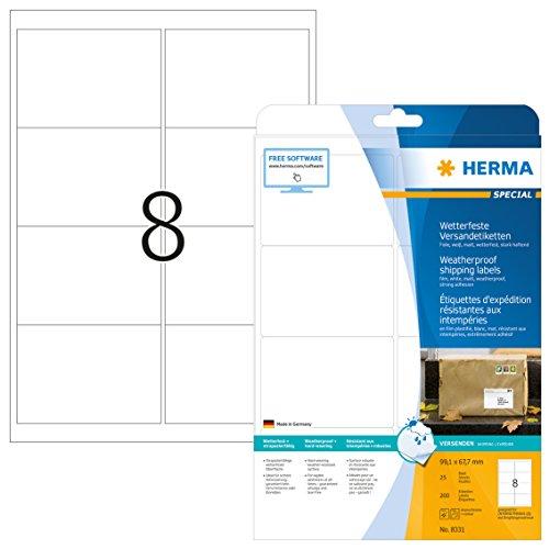 Herma 8331 Wetterfeste Versandetiketten (99,1 x 67,7 mm) weiß, 200 Folien-Etiketten, 25 Blatt DIN A4 Klebefolie matt, bedruckbar, stark selbstklebend