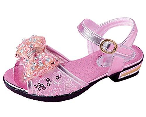 Brinny Sommer Glänzend Mädchen Sandalen Keilabsatz Bow mit Schließband Peep-toes Pumps Schuhe für Hochzeit Geburtstag Party Abend Fest Pink