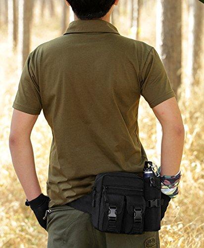 Sport Tent Camping Outdoor Tasche Taktische Sport Wasserdicht Hüfttasche mit Flasche Taille Tasche Gürteltasche Pouch für Wandern Laufen Radfahren Camping Reise Klettern Trekking Jagd Schwarz