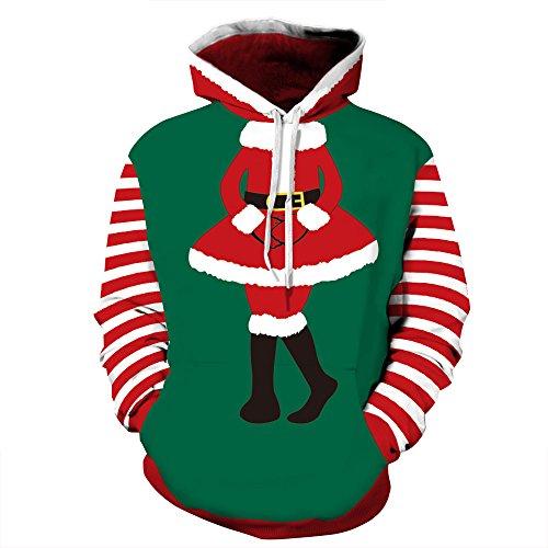 Leapparel Unisex 3D Weihnachtskleid Graphic Printing Kapuzenpullover Hässliches Sankt Weihnachts Pullover Kostüm für Frauen und Damen Grün