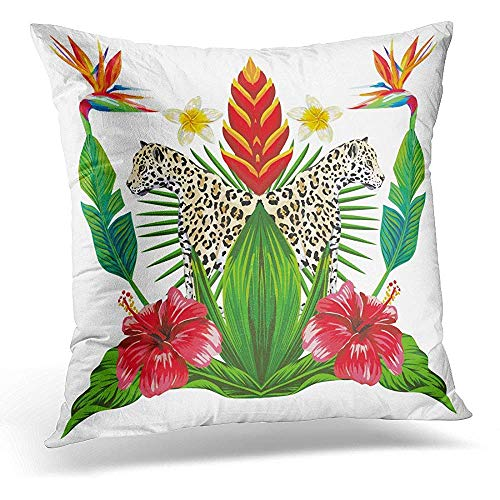 Zierkissenbezüge, Pillow Cover Composition of Tropical Bouquet Hibiscus Flowers Bird Paradise Wild Animal Lioness and Green Leaves Throw Pillow Case Square Home Decor Pillowcase 18x18 Inches Chelsea Bouquet
