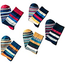 OULII Calcetines coloridos para hombre rayas largas calcetines calientes de invierno calcetines antideslizantes cómodos 5 pares