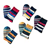 LUOEM 5 Paar Herren Socken bunte Streifen Baumwolle Strümpfe für Männer