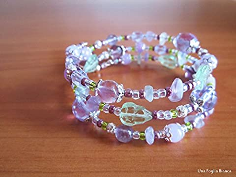 Memory Bracelet, flower charm, fluorite, amethyst, seed, czech beads handmade