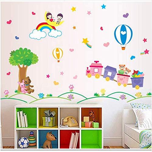 Newberli Kinderzimmer Cartoon Zug Sterne Dekorative Wandaufkleber Schlafzimmer Niedlichen Bär Mond Heißluftballon Kinder Paradies Abnehmbare Aufkleber