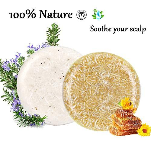 2x Shampoo Solido 100% Naturale Shampoo Bar Sapone per capelli secchi danneggiati e trattati Essenza Vegetale Vegetariana Balsamo Set Regalo per