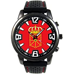 Navarre Spain Country Flag Mens Black Jelly Silicone Wrist Watch