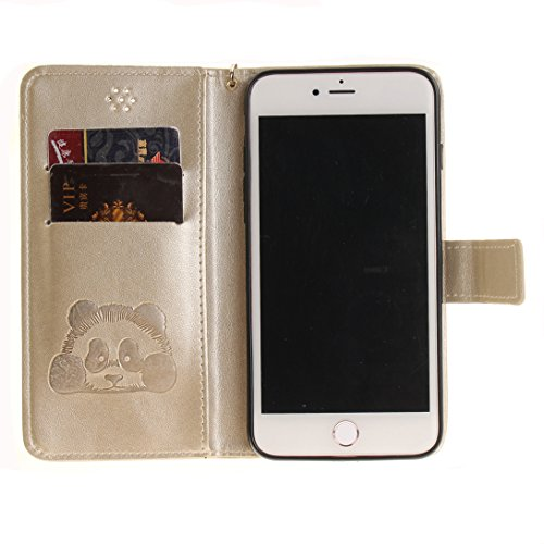 Pheant® Apple iPhone 7 Plus (5.5 pouces) Coque Rouge Étui à Rabat Pochette en Cuir PU Cover Gel Housse de Protection avec Fonction de Support et Fermeture Magnétique Panda Motif de daufrage Or