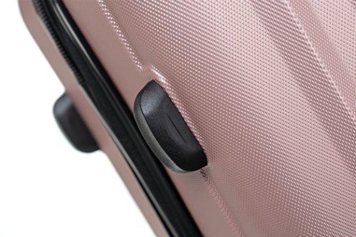 TSA-Schloß 2080 Hangepäck Zwillingsrollen neu Reisekoffer Koffer Trolley Hartschale XL-L-M(Boardcase) in 12 Farben (Rosa, L) - 4