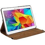 Protectora de Piel Sintética para Samsung Galaxy Tab 410.1–360°–Cover PhoneNatic Cubierta + protectores de pantalla marrón marrón Galaxy Tab 4 10,1