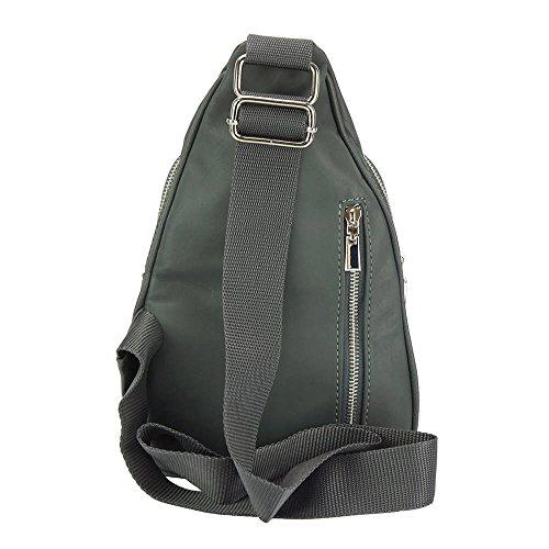 Gerardo Schultertasche echt Leder Damentasche mit Reißverschluss Rucksack aus Florenz Italien. Dunkelgrau