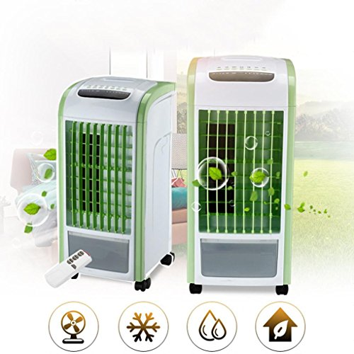 LCLrute Climatiseur Portable,Refroidisseur d'Air, Humidificateur et Purificateur d'Air Silencieux,4 en 1 Ventilateur de contrôle à distance Humidificateur (Green)