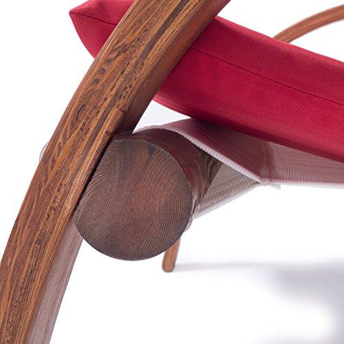 Lounge Gartenmöbel Set Malibu | Relaxsessel & 2er Sofa mit Armlehne, hoher Rückenlehne aus Holz | Gartenstuhl & Gartenbank mit Sitzauflagen rot - 3