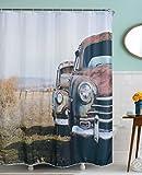 A.Monamour Vintage Altes Auto In Abgelegenen Feldern Land Bild Druck Bad Zubehör Tuch Duschvorhänge Textil 180X200 Cm / 72
