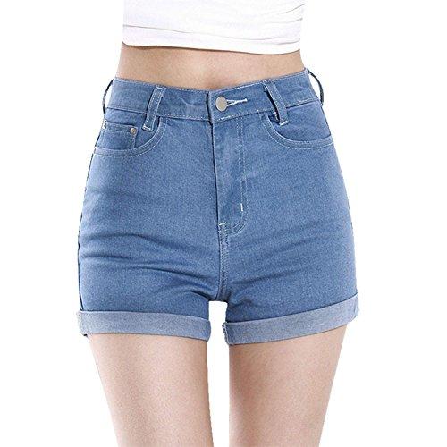 Minetom Mujer Talle Alto Pantalones Cortos Engaste Shorts De Mezclilla Casual Jeans Shorts Azul Claro 40