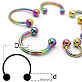 Soul-Cats Piercing anillo de herradura anillo de acero quirúrgico del grano en cautiverio abierta del oído labio regenbogen Talla:Stab: 1.2 mm; Kugel: 3 mm; Innen Ø: 12 mm