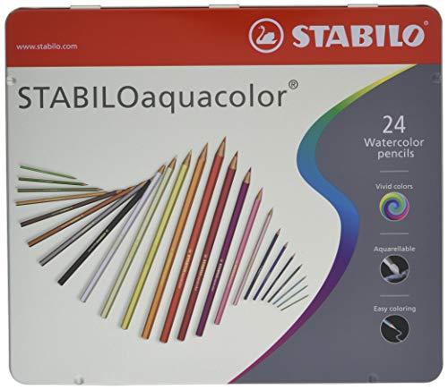 Stabilo aquacolor matita colorata acquarellabile colori assortiti - scatola in metallo da 24