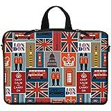 Meffort Inc Neoprene Laptop Carrying Case Sleeve Bag w. Hidden Handle & Eyelet (D-Ring) for 15 15.6 Inch Notebook - England Symbol