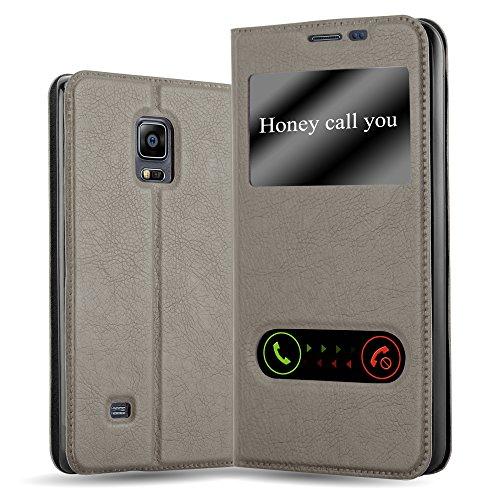 Cadorabo Hülle für Samsung Galaxy Note Edge - Hülle in Stein BRAUN – Handyhülle im Standfunktion und 2 Fenstern (View Design) - Case Cover Schutzhülle Etui Tasche Book Klapp Style