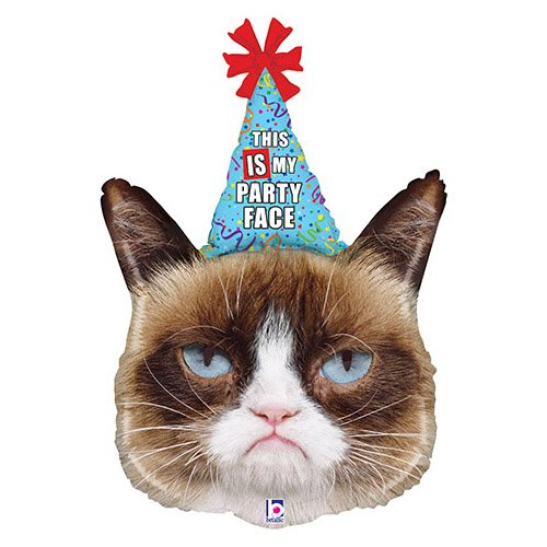 Bettiburi 35260P Folienballon Grumpy Cat Party, 91,4 cm, mehrfarbig