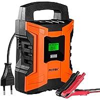 POTEK Chargeur de Batterie/Mainteneur 2A/4A/10A Intelligent de véhicules ,moto,camping (pour batterie Plombe-Acide ,AGM et GEL 6V/12V de 4 à 120Ah) Ecran LCD