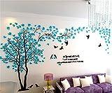 Missley DIY 3D Riesige Bilderrahmen Baum Wandtattoos Fotorahmen Aufkleber Kristall Acryl Farbe Wand Dekoration Wandkunst (Blue-Left, XXL)