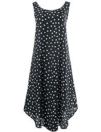Ulla Popken Damen große Größen   Kleid mit Punkten   A-Linie,  Rundhalsausschnitt, ärmellos, gerundeter Saum  … fdd08933ea