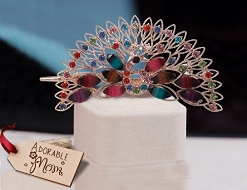 TIED RIBBONS Multicolour Metal Peacock Hair Clip with Wooden Tag