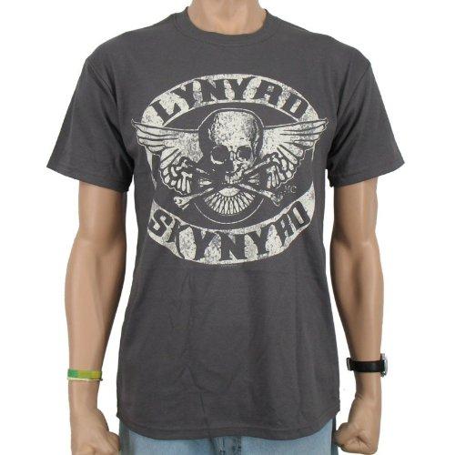 T-Shirt LYNYRD SKYNYRD-Biker Patch Band, Dark Grey, Unisex Uomo, LYNYRD SKYNYRD - BIKER PATCH T-Shirt, Größe S, grigio, S