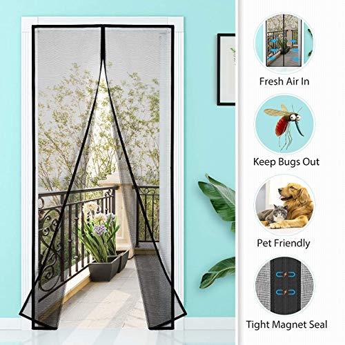 Homitt Magnet Fliegengitter 120 x 240cm, Fliegengitter Tür Magnetisch mit Glasfaser Meterial Insektenschutz für Balkontür, Klebemontage Ohne Bohren