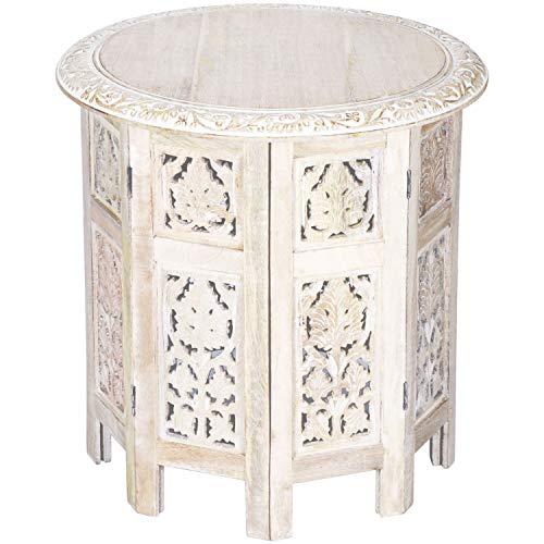 Asiatische Wohnzimmer Beistelltisch (Marokkanischer Tisch Beistelltisch aus Holz Ashkar Weiss ø 45cm groß rund | Orientalischer runder Hocker Blumenhocker orientalisch klein | Orientalische runde kleine Beistelltische klappbar)