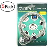 RiaTech™ (5 Pack ) 2m Long Top Quality Multi Purpose Security Cable Lock With Number for Notebook/Laptop Bicycle Bike Hand Bag Trolley Bag