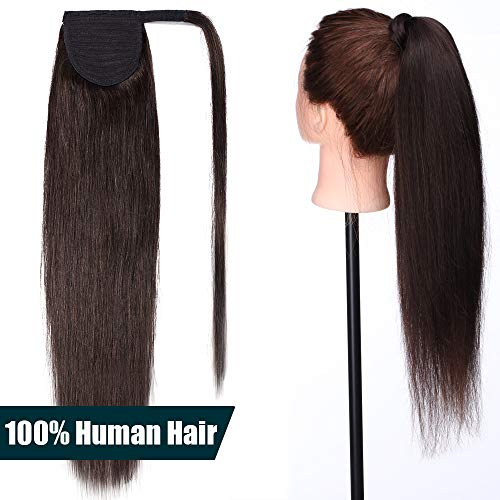 50cm coda capelli extension veri con clip #2 castano scuro - remy human hair ponytail cavallo wrap around fascia unica clip in hair naturali lisci 95g
