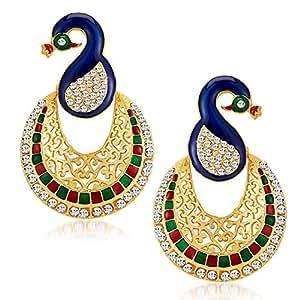 Shining Diva Gold Plated Traditional Jewellery Fancy Party Wear Jhumki/Jhumka Earrings For Girls & Women(Multi-Colour)(8411er)