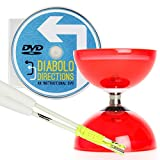Cyclone Quartz 2 Diabolo Rot mit Weiß Superglass Diablo Stäben (inkl Schnur) & 'Diabolo Directions' DVD (auf Englisch)