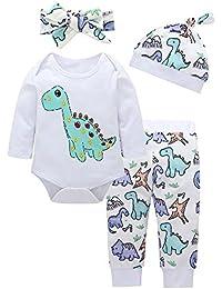 ALIKEEY 4Pcs Bebe Niñas Niños Ropa Set Dinosaurio Mameluco + Pantalones + Gorro + Diadema Looks
