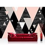 Vlies Fototapete 312x219cm PREMIUM PLUS Wand Foto Tapete Wand Bild Vliestapete - Texturen Tapete Dreiecke Rauten Retro Sixties bunt - no. 3474