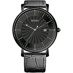 BUREI® Unisex Classic Ultra-thin Big Face Quartz Watch with Black Calfskin Strap, Black Spiral Grain Dial - Ideal Gift for Friends & Familys