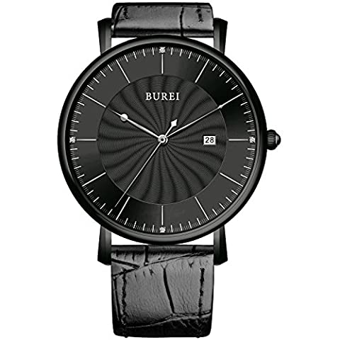 BUREI® Unisex Classic Ultra-thin Big Face Quartz Watch with Black Calfskin Strap, Black Spiral Grain Dial - Ideal Gift for Friends & Familys