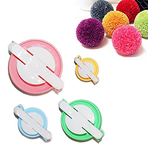 TaleeMall Herstellungs-Set für Pompon-4 Größen (klein bis groß) Pom Pom Maker Knitting Loom (Kleine Pom-pom-maker)