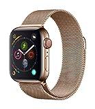 AppleWatch Series4 (GPS+Cellular) con caja de 40mm de acero inoxidable en oro y pulsera Milanese Loop en el mismo tono
