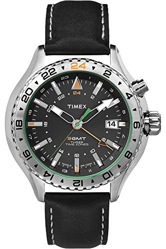 Timex Intelligent Quartz–T2P452–Reloj Hombre–Cuarzo Analógico–Esfera Negra–Correa Piel Negro