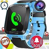 1.44'GPS Tracker Smart Watch Téléphone pour Enfants avec Podomètre Caméra SIM Appels Anti-Perdu SOS Smart Smartwatch pour Enfants Filles Garçons Anniversaire Cadeaux (Bleu)