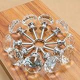 Clarmonde Hoge Kwaliteit 20 X 30 MM Helder Kristal Glas Diamant Gesneden Deurknoppen Keuken Kast Lade Knoppen+Schroef Home Decorating