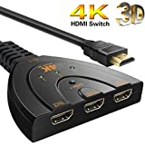 Protokart HDMI 3 port UHD 2K 4K, Full HD 3D, Switch Splitter with Pigtail Cable HD Audio for Nintendo Switch, Apple HD TV XBox PS3 PS4 (Black)